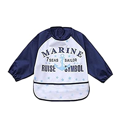 Waterproof Bib with Sleeves&Pocket,Unisex Kids Childs Arts Craft Painting Apron for Baby or kids6-36 Months: Clothing