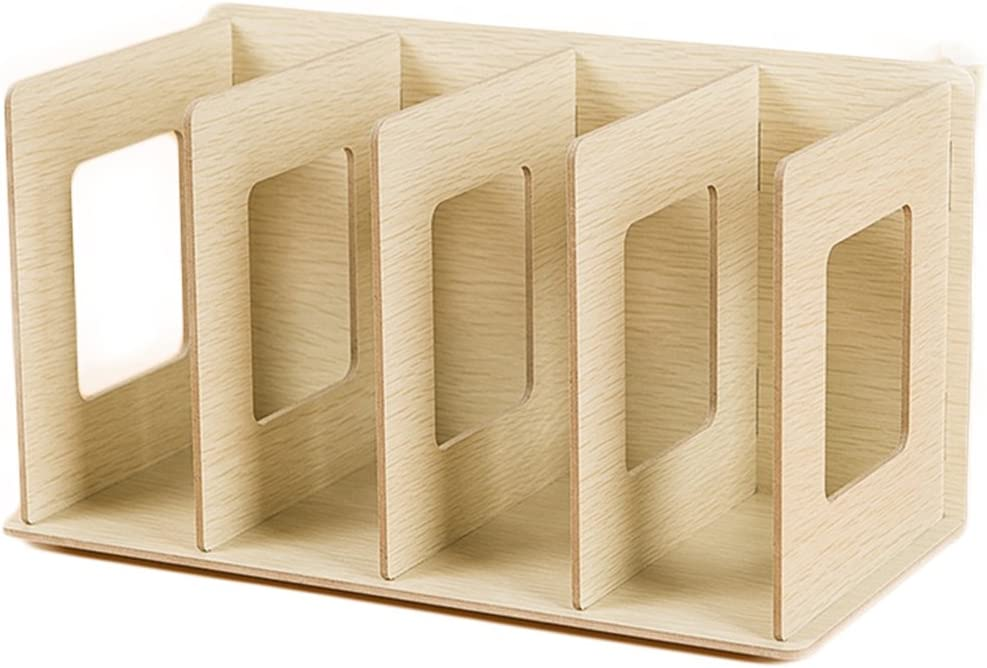 HMANE Mini Books Shelves, Creative Wooden DIY Desktop Shelves Multi-Layer Book CD Sorting Bookends Storage Racks Office Carrying Shelves – 12×5.9×6.7in