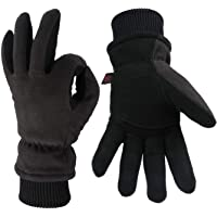 OZERO -30°F Winter Gloves Deerskin Suede Leather and Thermal Polar Fleece Insulated Work Glove Hands Warm in Cold Weather for Men and Women