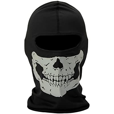 Nuoxinus Black Ghosts Balaclava Skull Full Face Mask for Cosplay Party Halloween Motorcycle Bike Cycling Outdoor Skateboard Hiking Skiing Snowmobile Snowboard: Automotive