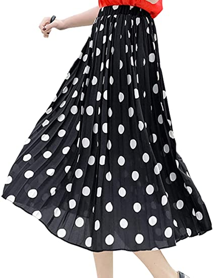 ec09c6abcc76 SCHHJZPJ Women's Polka Dot Chiffon Skirt US0-6 Vintage Print Pleated Midi  Skirts (Black