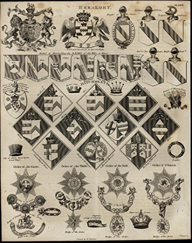 - Heraldry Coat of Arms medals awards 1821 detailed engraved antique print