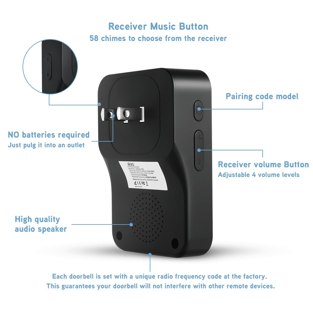 Black, 2018 Upgraded Self-Powered Push Button and 1 Plug-in Receiver IP55 Waterproof  2 No Battery Required Wireless Doorbell 58 Chimes with 4 Level Volume and LED Flash