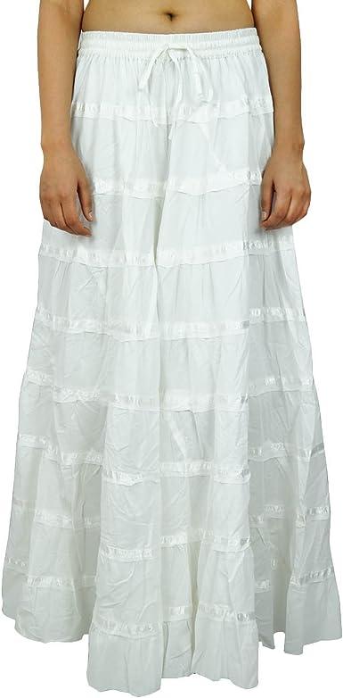 Maxi Beach Wear algodón falda larga de Boho del cordón de las ...
