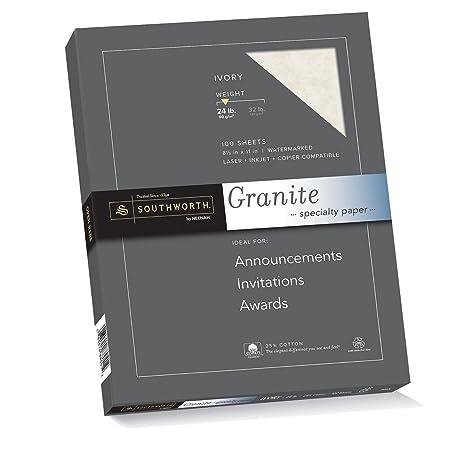 Southworth Granite Specialty Paper, Ivory, 24 Lb, 100 Count (P934CK)