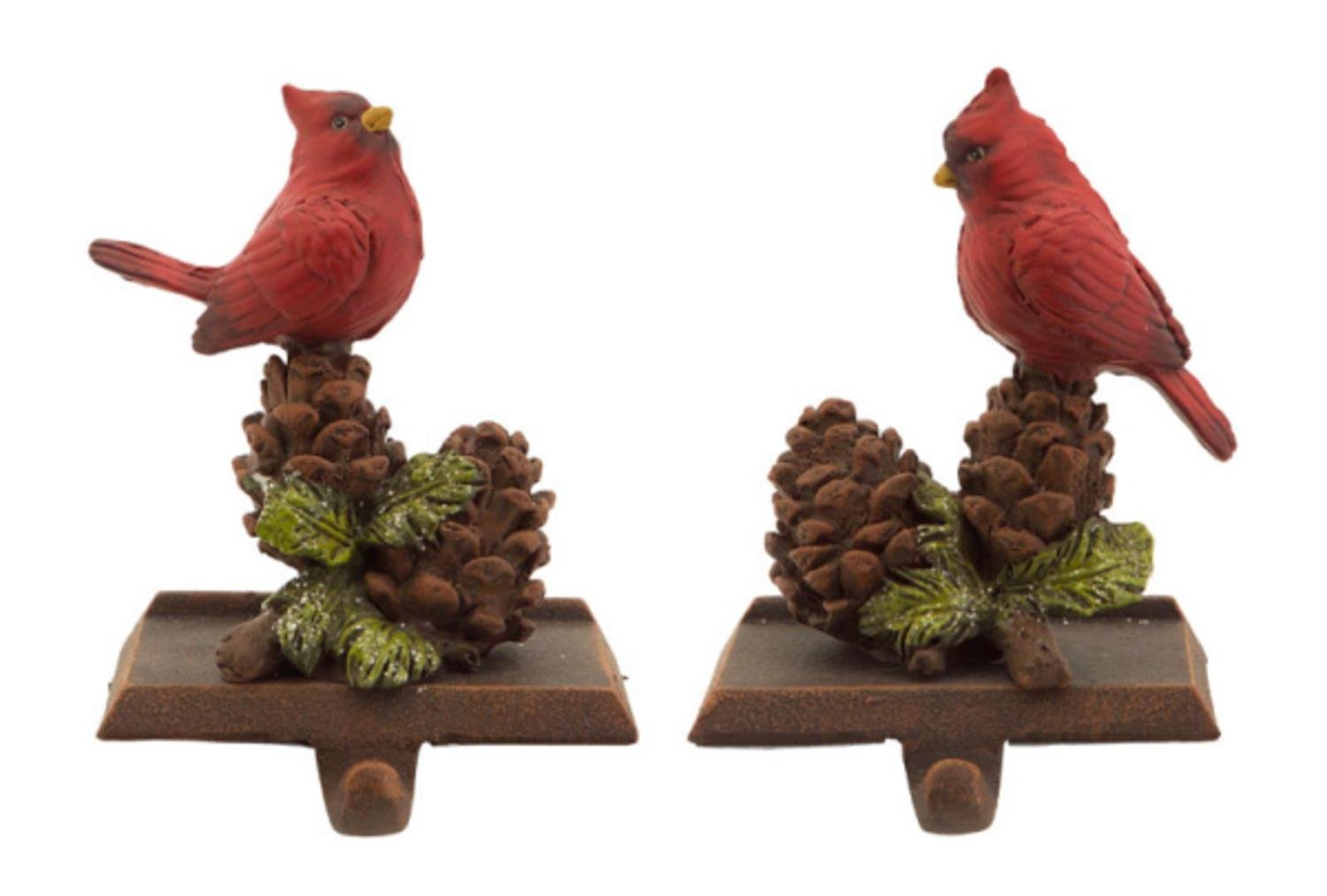 Pack of 6 In the Birches Red Cardinal with Pine Cones Christmas Stocking Holder 2-Piece Sets 6.5''