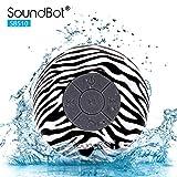 Soundbot PR-SB510-ZEB Wireless HD Water Proof Bluetooth 3.0 Speaker Mini Water Resistant with Built-in Mic - Zebra