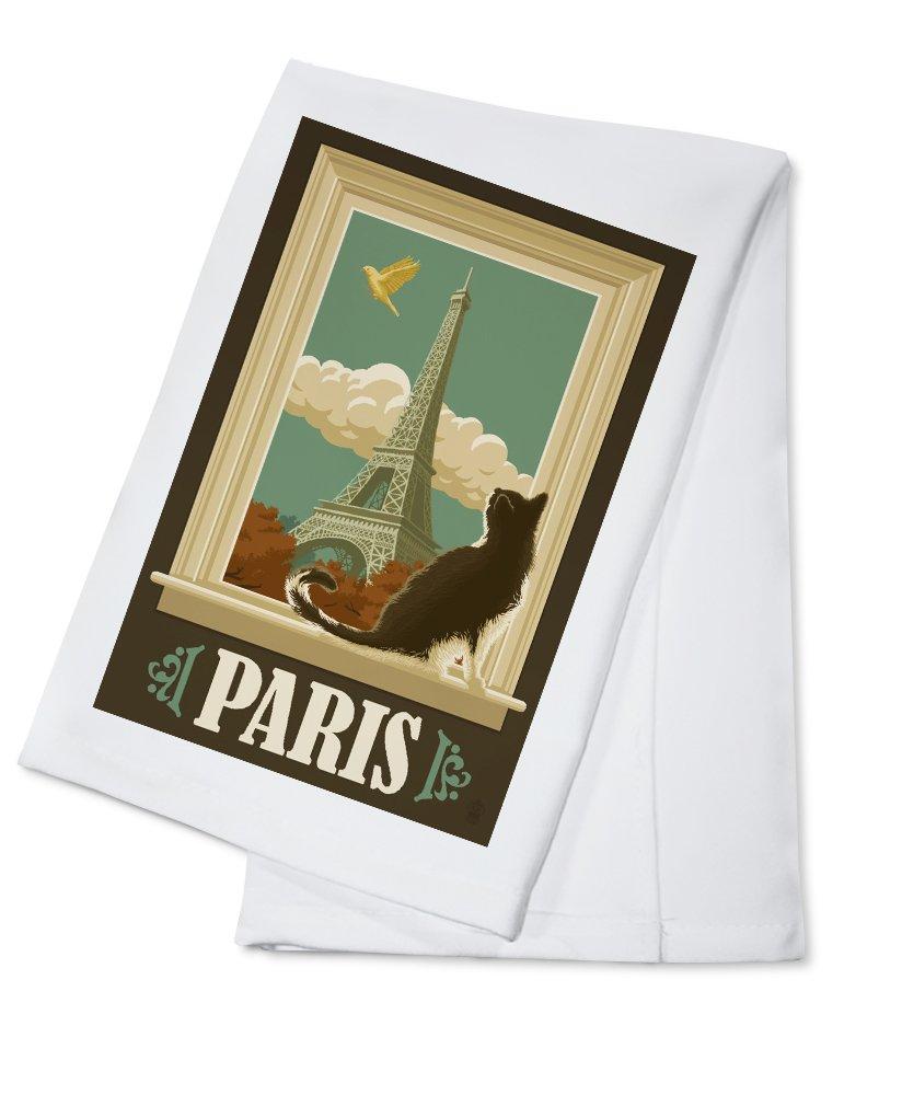 Paris, France - Eiffel Tower and Cat Window (100% Cotton Kitchen Towel)