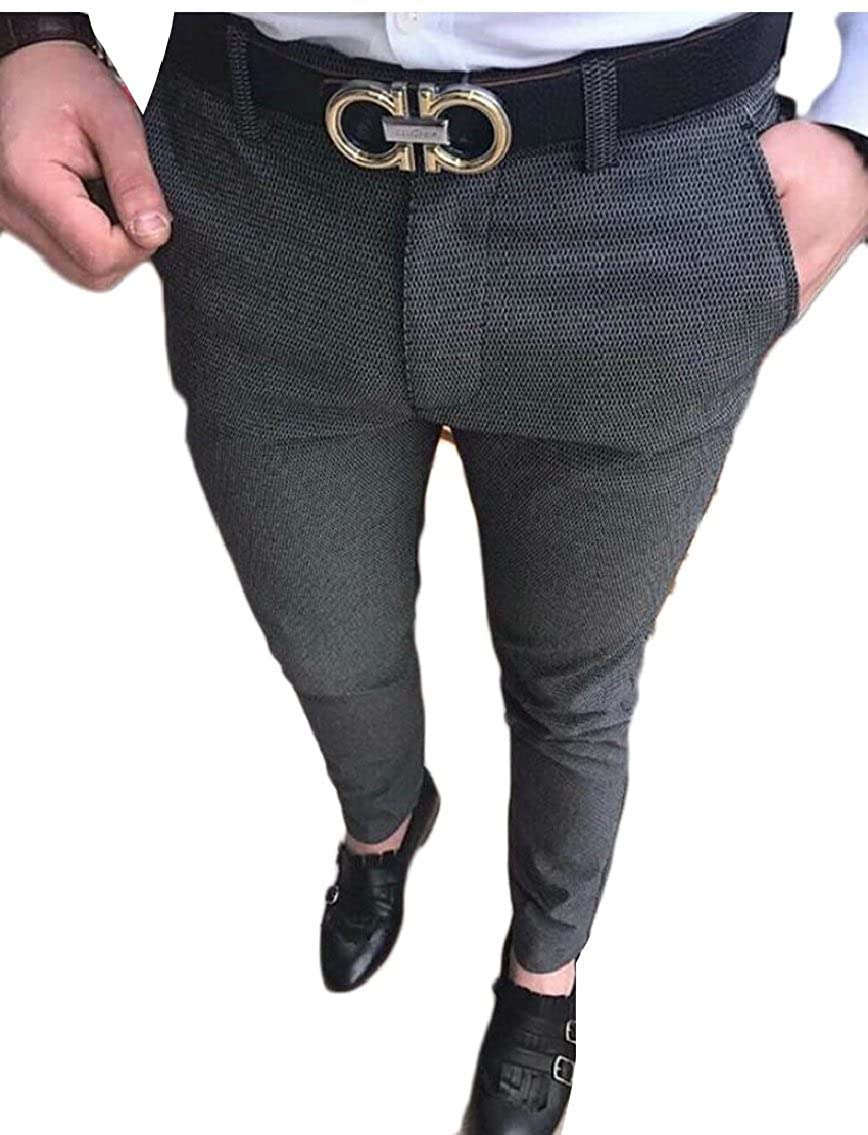 HTOOHTOOH Mens Big and Tall Flat Front Suit Dress Pant with Adjustable Waist Tousers