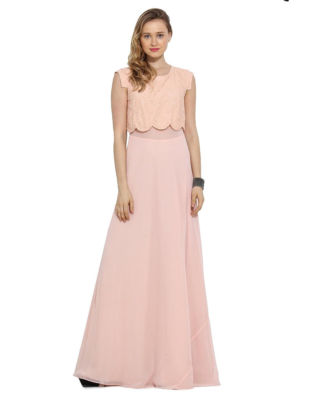 Saiesta Women's Conceal Zipper Blush Pink Scallop Hem Maxi Dress