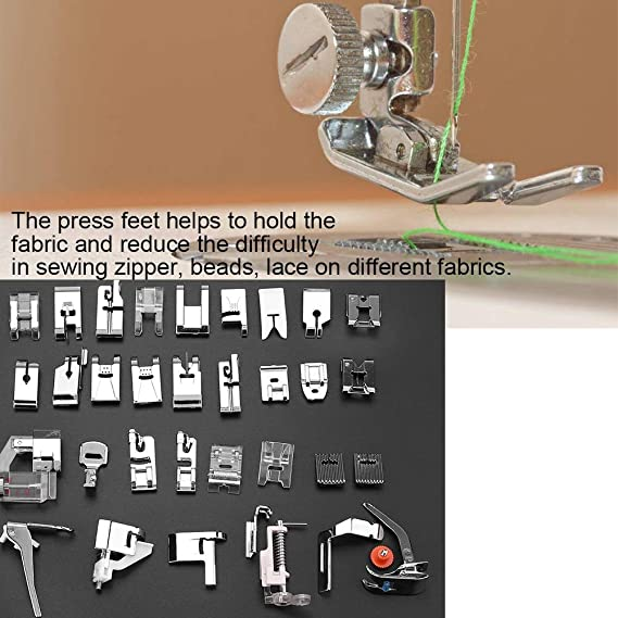 TOVOT 32 PCS Domestic Sewing Machine Presser Feet Set for Singer Brother Low Shank Sewing Machines Janome and Kenmore,Babylock