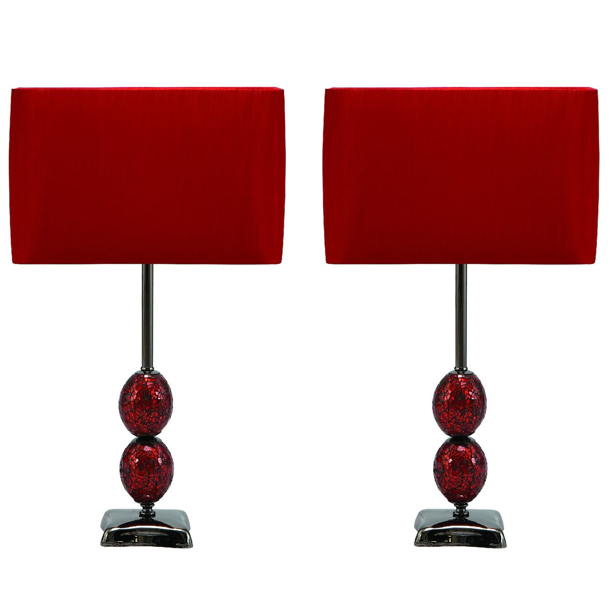 Amazon Com Urban Designs Mosaic Cracked Glass Table Lamp Set Of 2