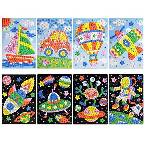 CIEOVO Mosaic Sticker Art Sticky DIY Handmade Art Kits for Kids - Astronaut, Alien, Car, UFO, Spaceship, Airplane, Hot Air Balloon, Sailboat (8 Pack) (Mosaic Sailboat)