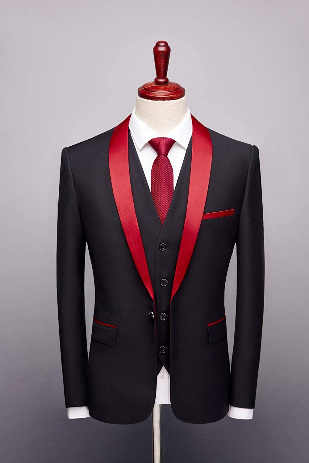 Mens Red Shawl Lapel Black 3 Pieces Suits One Button Wedding Suit Groom Tuxedo At Amazon Men S Clothing Store
