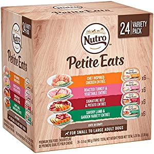Nutro Wet Dog Food Variety Pack—Tender Chicken Stew, Roasted Turkey & Vegetable Stew, Simmered Beef & Potato Stew, and Savory Lamb & Vegetable Stew, 3.5 Ounce Trays (24-Pack)