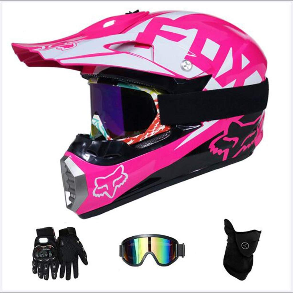 Color : XL Set di 4 Pezzi Zhanghongshop Adulto Motocross Helmet MX Helmet Scooter ATV Helmet Road Race D.O.T Certified Pink with Gloves Antivento Mask Goggle