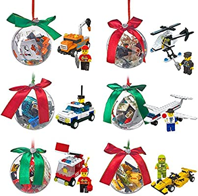 christmas ornament filled with building brick blocks toys 6 ornaments different bricks to build airplane helicopter police fire construction race car - Amazon Christmas Ornaments
