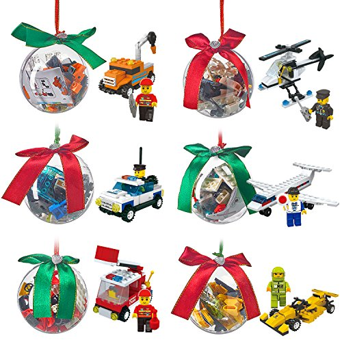 Christmas Ornament filled with Building Brick blocks toys, 6 Ornaments different bricks to build Airplane helicopter police Fire construction race car, Stocking Stuffers Xmas Gifts for Kids boys - Filled Ornament