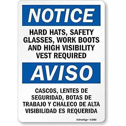 Amazon.com: MamieHood Notice Hard Hats Glasses Boots Vest Required ...