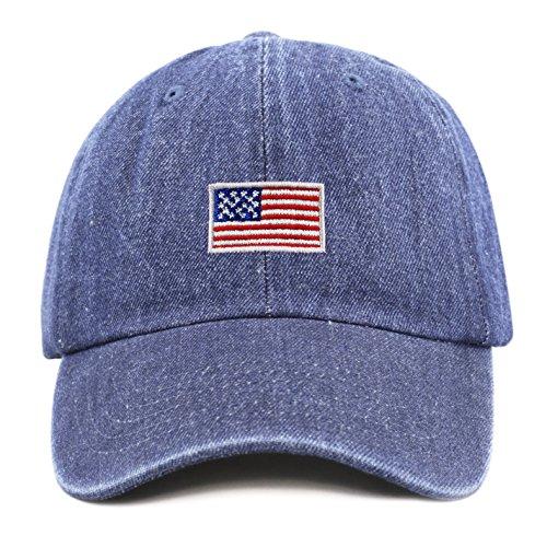 THE HAT DEPOT Kids American Flag Washed Low Profile Cotton and Denim Plain Baseball Cap Hat (2-5yrs, Dark Denim) -