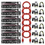 PCI-E Risers Mining Riser BesCarol Latest VER 009S-X Powered Risers 1X to 16X Extension Adapter Card for GPU Mining Rig (4PIN/6PIN/SATA) Power Cable 8 Solid Capacitors 60cm USB 3.0 Cable (6 pack)