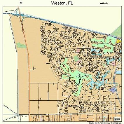 Map Of Weston Florida.Amazon Com Large Street Road Map Of Weston Florida Fl Printed