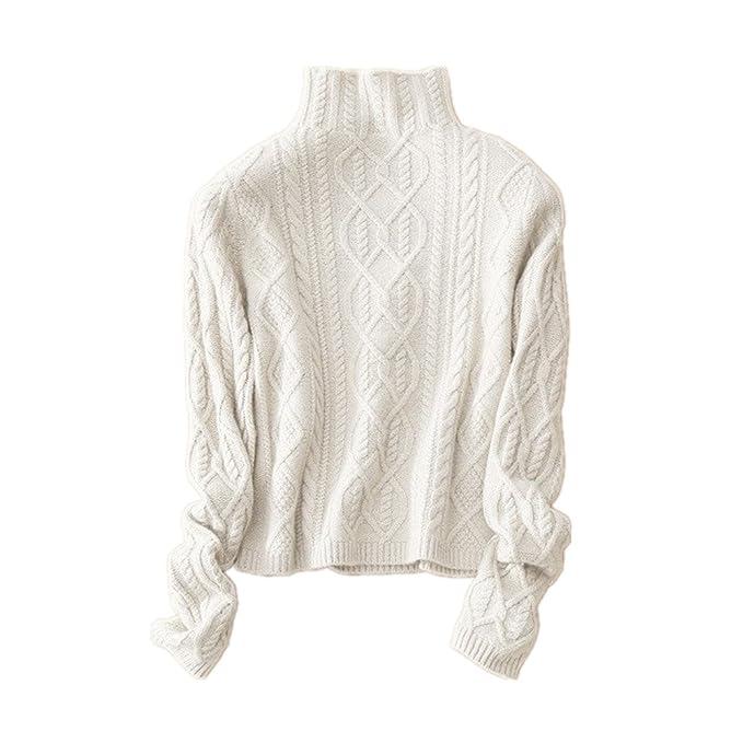 online store 677bc ae384 Wenwenma Maglione Invernale in Cashmere a Collo Alto Corto Paragrafo Corto  - Pullover di Cashmere