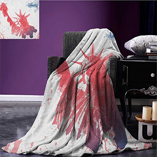 4th of July throw blanket Watercolor Lady Liberty Silhouette with Paint Splashes Independence miracle blanket Dark Coral Pale Blue size:59