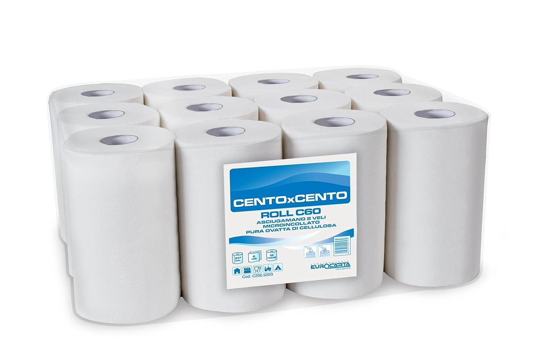 12 Rotoli Asciugamani in carta da 60 metri, doppio velo pura ovatta cellulosa EUROCARTA