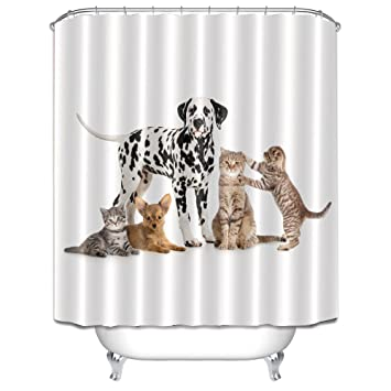 Funny Cute Pet Dog Cats Print Shower Curtains For Bathroom By LB Lovely Kitten Puppy