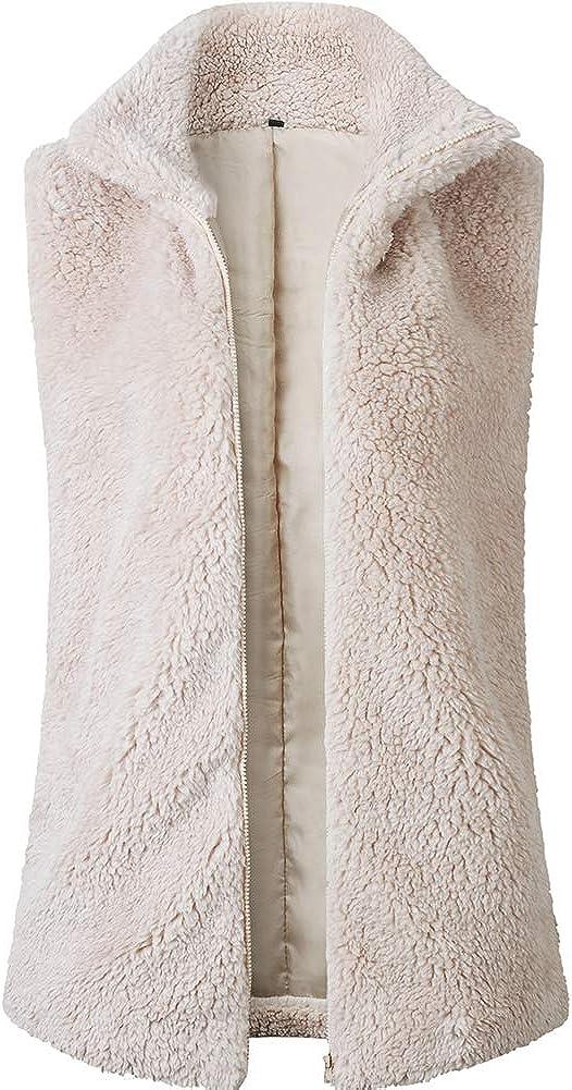 Fuzzy Sherpa Vest Women - Soft Warm Fuzzy Fleece Vest Sleeveless Cardigan Outwear with Pockets in Fall Winter