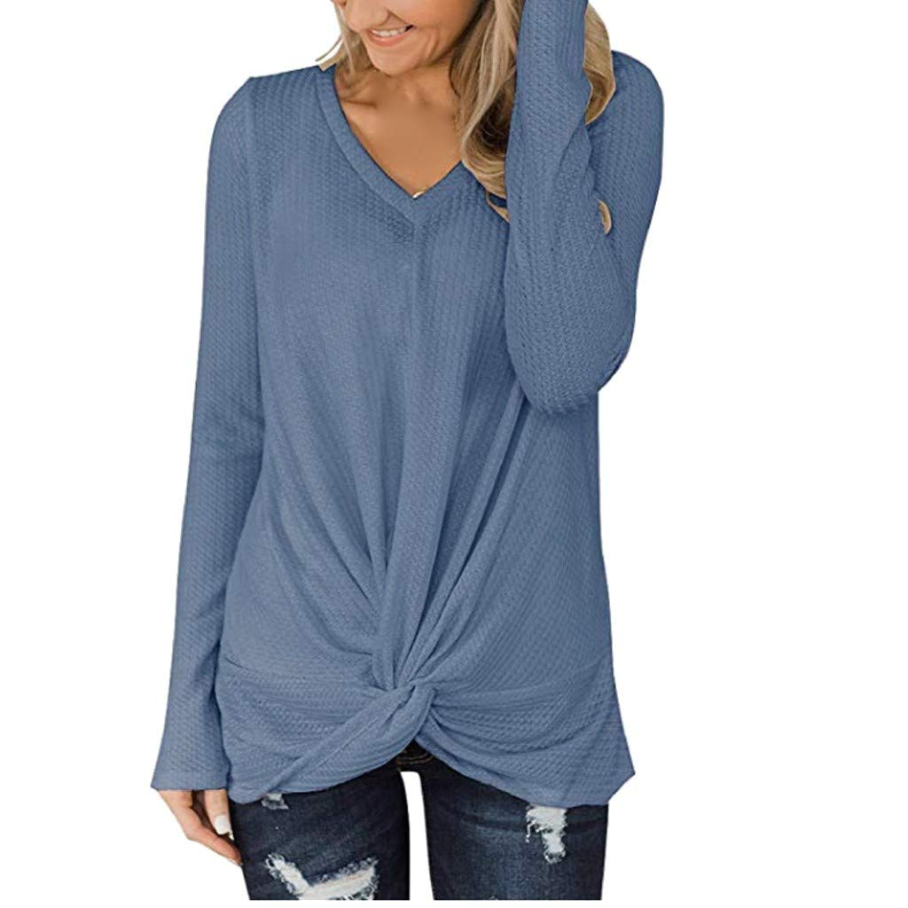Milamy Womens Knit Tunic Tops, Ladies Plus Size Casual Long Sleeve Twist Knot Waffle Blouse V Neck Loose Shirts S-XXXL Blue by Milamy