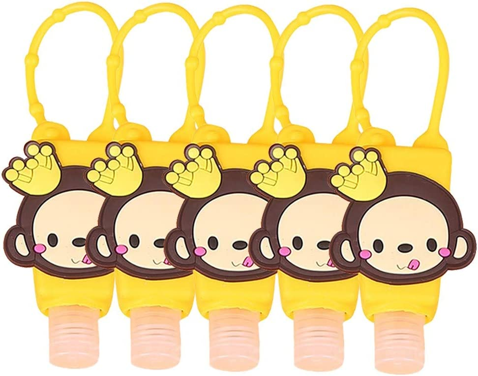 30 ml Portable Leak Proof Flip Cap Bottles Toiletries Dispenser,UK Shipping Subfamily 5Pcs Cute Cartoon Kids Refillable Bottles Travel Containers Empty Plastic Bottles with Silicone Keychain Carrier