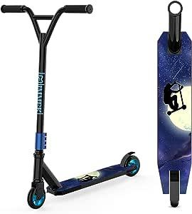 IMMEK Patinete Freestyle ABEC-9 Rodamientos, 2 Ruedas 100 mm Aluminio Núcleo de Rueda Scooter 360° Trucos y Saltos, Apto para Niños y Adolescentes ...