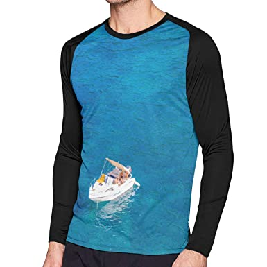 fd0381588c05 Amazon.com  Men s Sweatshirt Blue Sea Boat Long Sleeve T Shirt 3D Print  Casual Graphic Tee Shirt For Men  Clothing