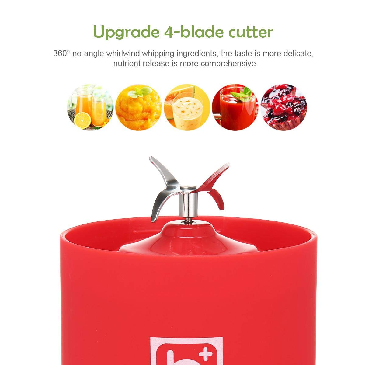 Electric Electric Mini Juicer Smoothie Maker for Fruit 500ml Portable USB Rechargeable Juicer Blender with 4 Blades Baby Food Baiwka Personal Blender Vegetables and Protein Shakes