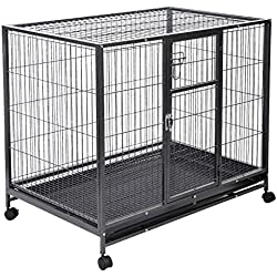 Heavy Duty 42'' Dog Crate Cage Kennel Metal Wire Pet Playpen w/ Tray New in Black With Ebook