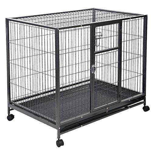 Eight24hours Heavy Duty Black 42'' Dog Crate Cage Kennel Metal Wire Pet Playpen w/ Tray New - Replacement Dog Crate Handles