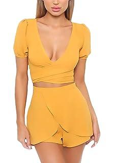 b6e71d62448 Conjuntos Mujer Verano Elegantes Crop Top+Shorts Dos Piezas Manga Corta V  Cuello Strappy Moda Ropa Modernas Fiesta Casual…