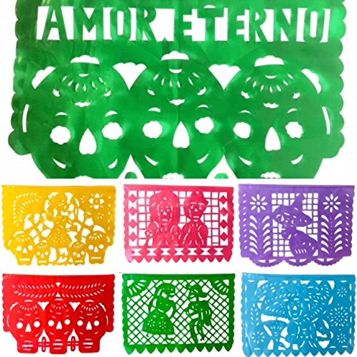 TexMex Fun Stuff Day of the Dead Plastic Papel Picado, Mexican Dia de Los Muertos Decorations, 10 Pack]()