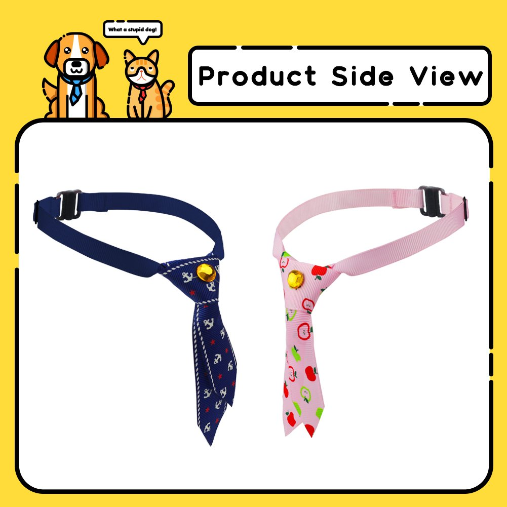 SW Lovely Adjustable Dog Puppy Collar Cat Bow Tie Pet Costume Necktie for Small Dogs Puppy Grooming Accessories, Free Size, 6 Patterns, Pink