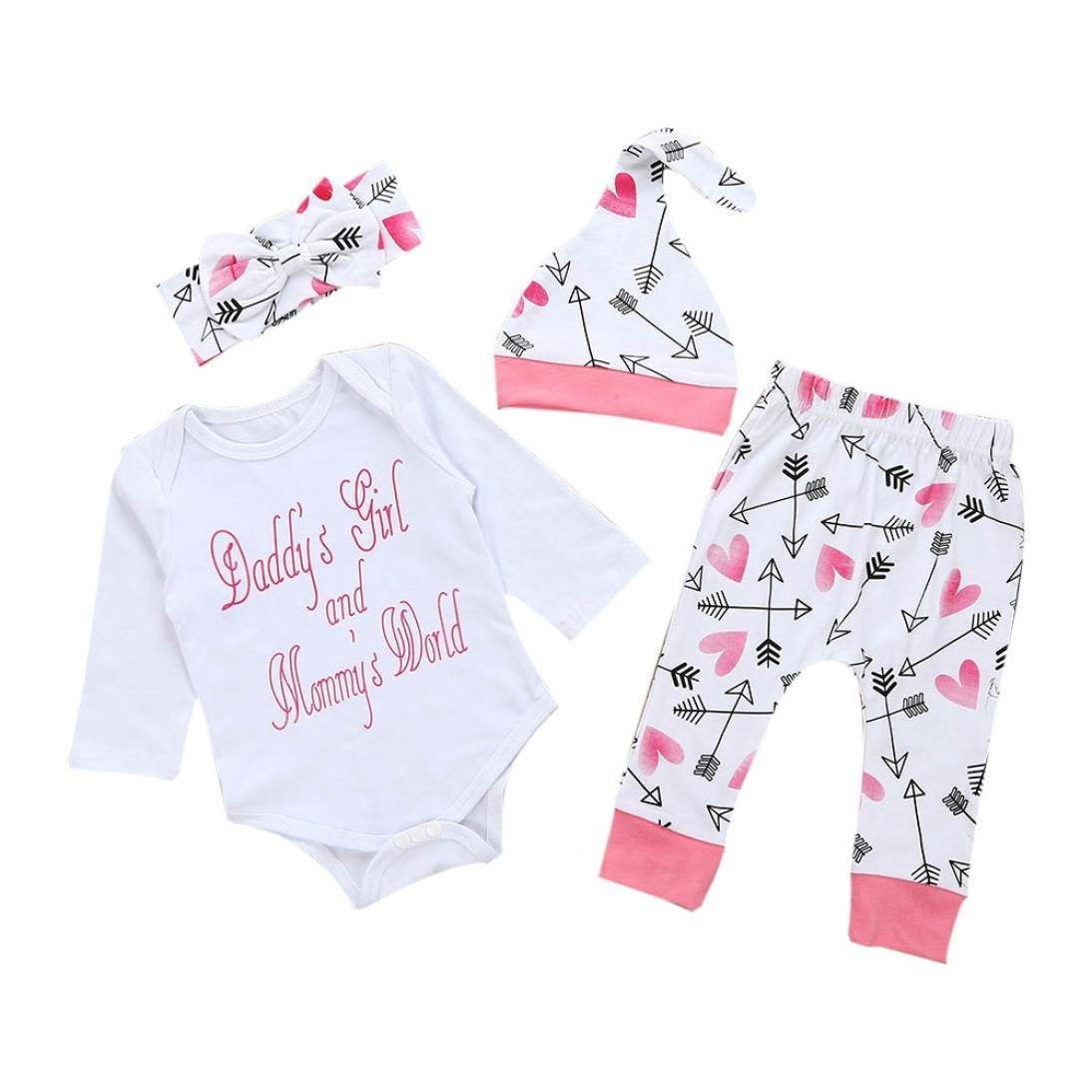 🌺 Ropa de Bebe Barato, 🍬 Zolimx Recién Nacido Bebé Florales Rayas Impresión Mameluco Jumpsuit Tops + Pantalones Largos + Sombrero + Diadema Conjuntos ...