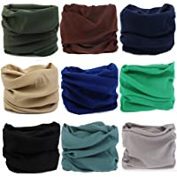 KALILY 12PCS/9PCS/6PCS Headband Bandana - Versatile Sports & Casual Headwear –Multifunctional Seamless Neck Gaiter, Headwrap, Balaclava, Helmet Liner, Face Mask for Camping, Running, Cycling, Fishing etc (Solid Color Pack A)