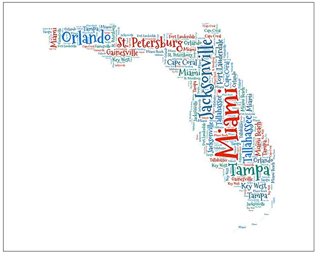 Map Of State Of Florida With Cities.Amazon Com Florida Map Art Fl State Cities Word Cloud Wall Decor