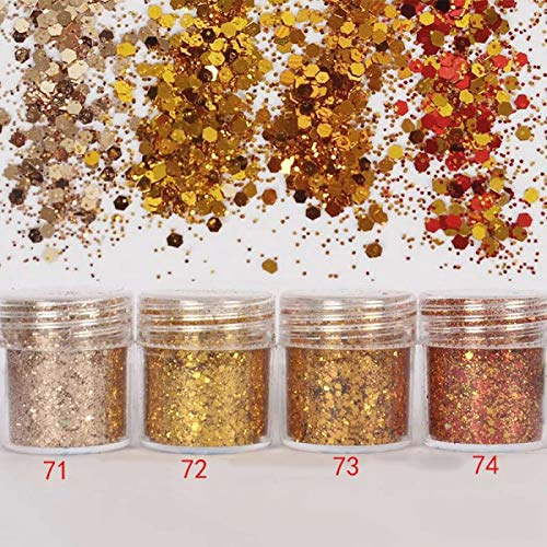 71a Body - 4 Pots/Set Chunky Glitter Powder Mixed Hexagon Loose Glitter Sequins Sparkling Chunky For Body Face Tattoo Festival Decor 10Grs 71A