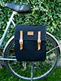 Black canvas and leather backpack pannier
