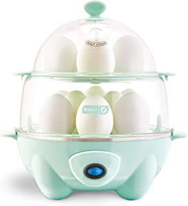 Dash Deluxe Rapid Egg Cooker: Electric, 12 Capacity for Hard Boiled, Poached, Scrambled, Omelets, Steamed Vegetables, Seafood, Dumplings & More, with Auto Shut Off Feature, Aqua