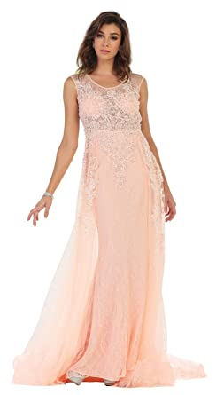 Royal Queen RQ7469 Red Carpet Evening Gown (4, Blush)