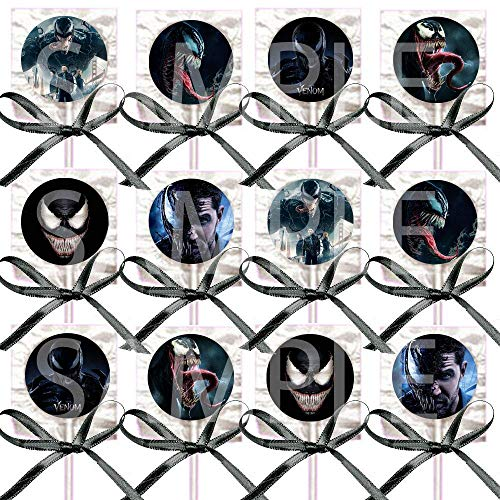 VENOM Movie Lollipops Party Favors Supplies Decorations Lollipops with Black Ribbon Bows Party Favors -12 pcs, Marvel Comics Anti-Hero Eddie -