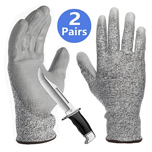 PU Coated Cut Resistant Gloves 2 Pack, Non-Slip Breathable Barehand Sensitivity Work Gloves, Ideal for Kitchen Cutting Fishing Glass Handing Gardening Auto Mechanic Multi-Purpose. ()